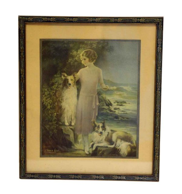 Framed Portrait of a Girl with Her Dogs