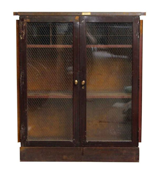 Metal Cabinet with Chicken Wire Glass Front