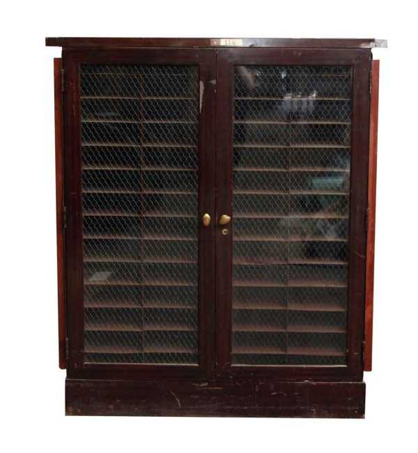 Metal Cabinet with Double Chicken Wire Glass Doors
