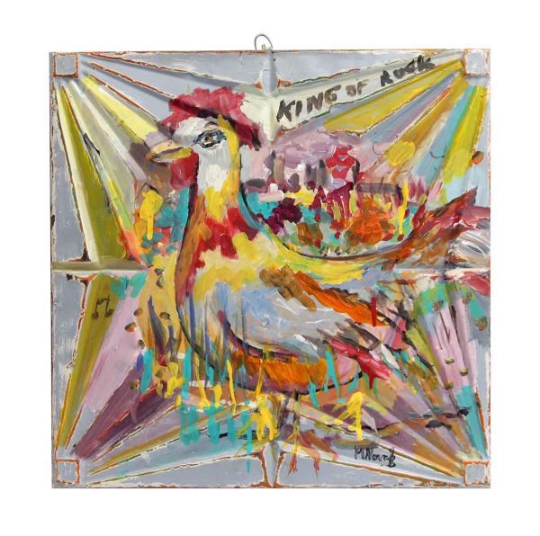 Colorful Rooster Novak Tin Panel