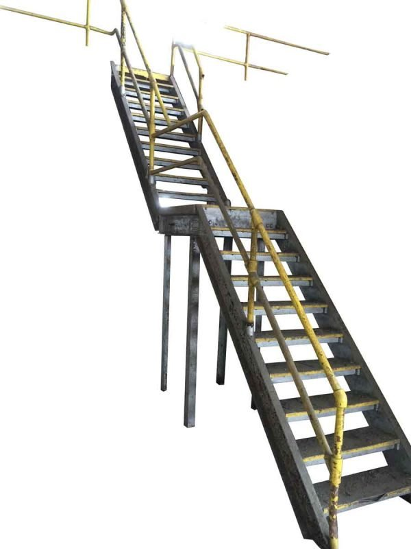 Industrial Cast Iron Stair Case with Unusual Hammered Detail