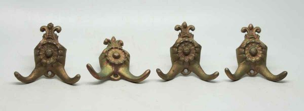 Set of Four Victorian Double Hooks with Iridescent Patina