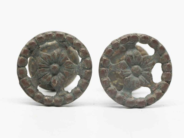 Pair of Round Brass Floral Drawer Pulls