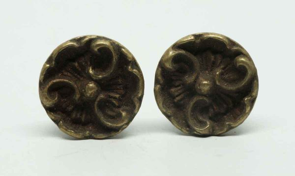 Pair of Small Decorative Brass Round Pulls