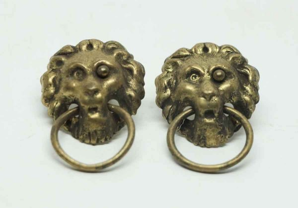 Pair of Pressed Brass Lion Head Pulls