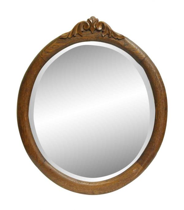 Oak Frame Round Beveled Mirror with Carved Top