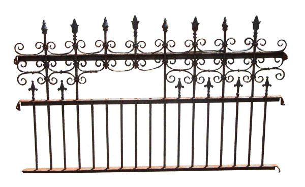 19th Century Hand Wrought Iron Fence with Cast Iron Posts