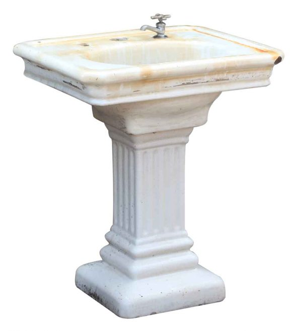Fluted Porcelain Finished Earthenware Sink with Pedestal Base