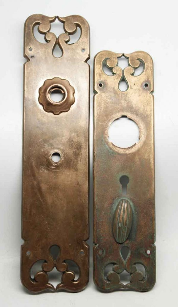 Pair of Reading Bronze Arts & Crafts Style Back Plates