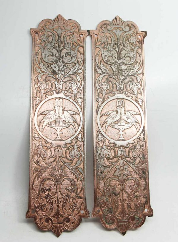 Beautiful Detailed Push Plates with Double Bird & Urns