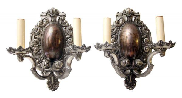 Pair of Bradley & Hubbard Silver Over Bronze Sconces
