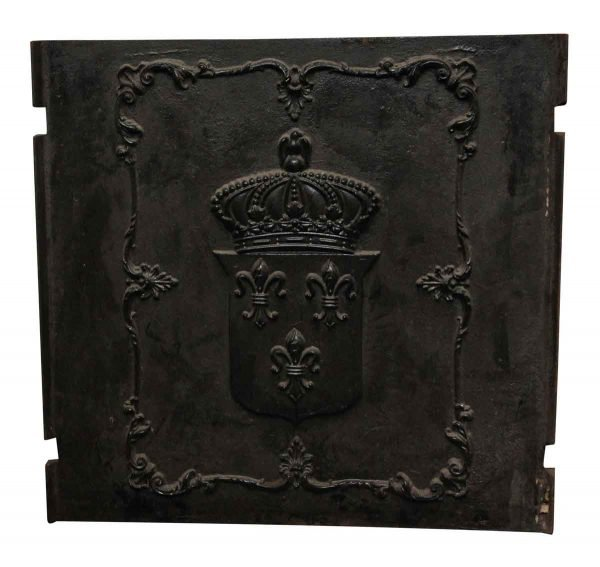 Cast Iron Fire Back with Shield and Fleur de Lis Detail