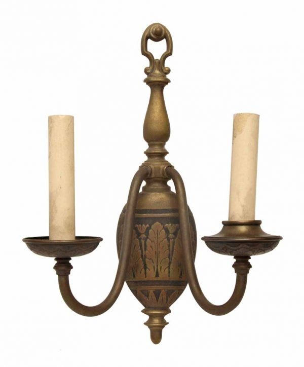Single Two Arm Brass Sconce with Floral Motif