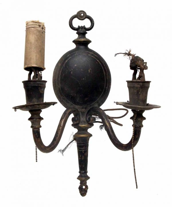 Pair of Double Arm Iron Black Sconces
