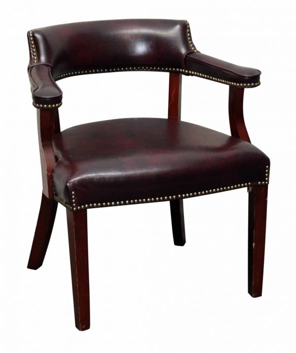 Set of Six Studded Burgundy Leather Chairs