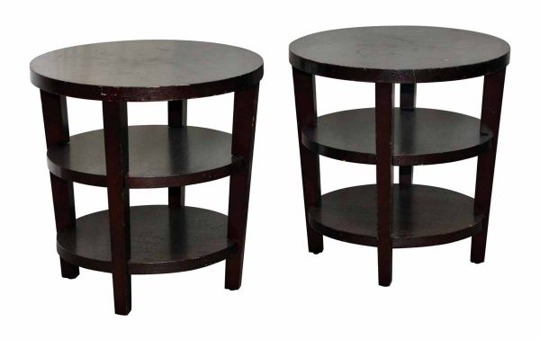 Pair of Three Tier Round Wood End Tables
