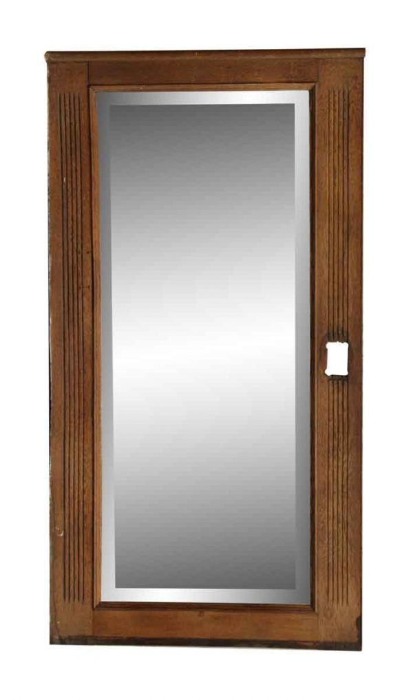 Long Vertical Oak Mirror with a Cut for a Sconce