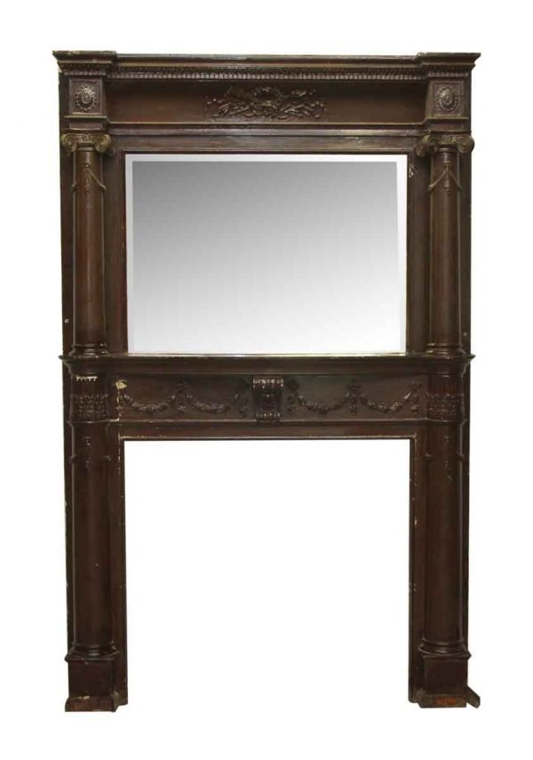 Two Tiered Neo Classical Style Wooden Mantel with Beveled Mirror