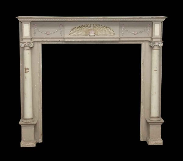 Decorative Wooden Mantel with Fan Detail & Ionic Columns