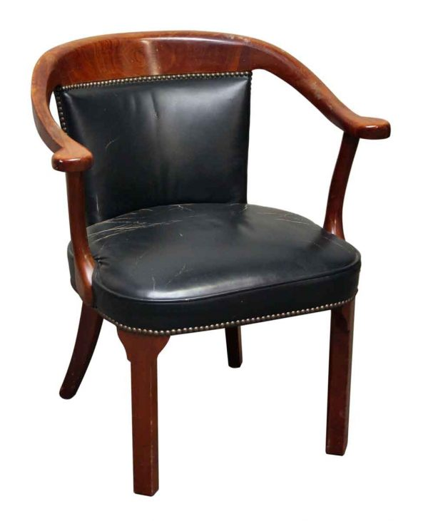 1940s Vintage Bankers Style Chair with Upholstered Finish