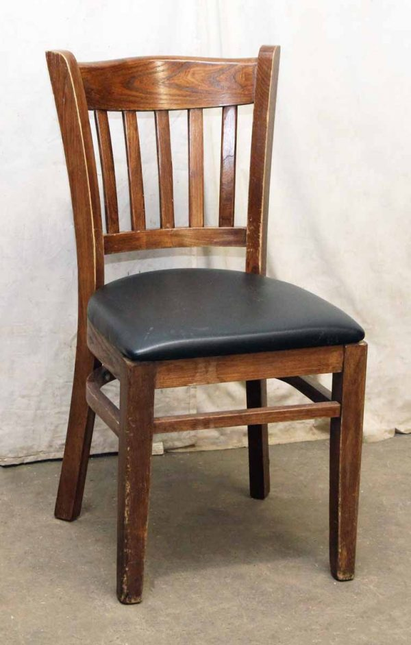 Slatted Back Chairs with Black Vinyl Seat