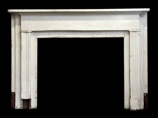 Painted White Wooden Mantel with Fluted Pilasters