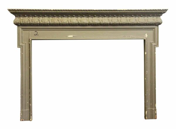 Painted Gray Antique Wood Mantel
