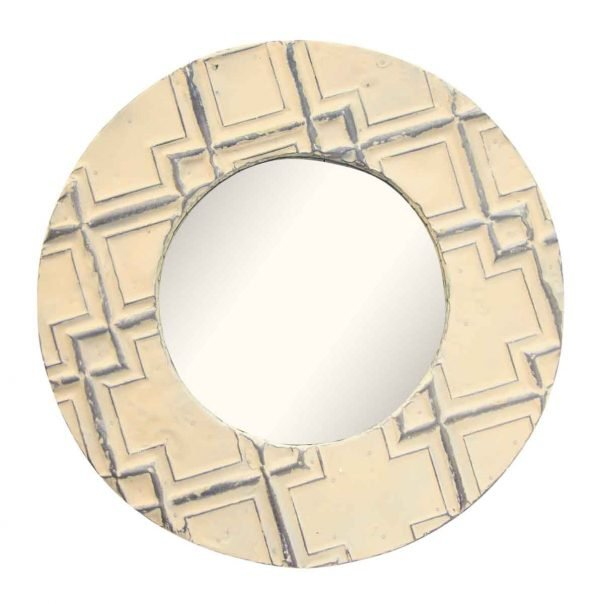 Round Tin Mirror With Cross Pattern