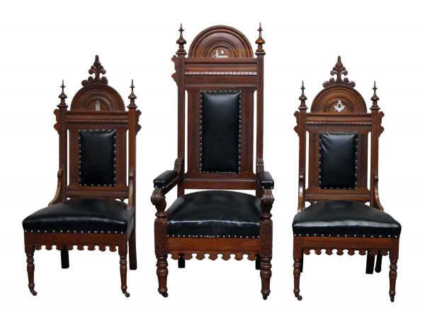 Set of Three Leather & Wood Masonic Chairs