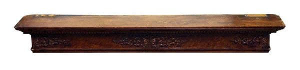 Carved Maple Mantel Shelf with Burled Maple Front