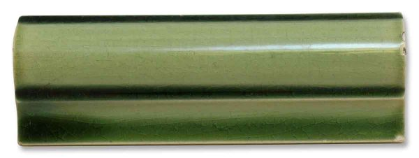 Pair of Ceramic Green Curved Tile