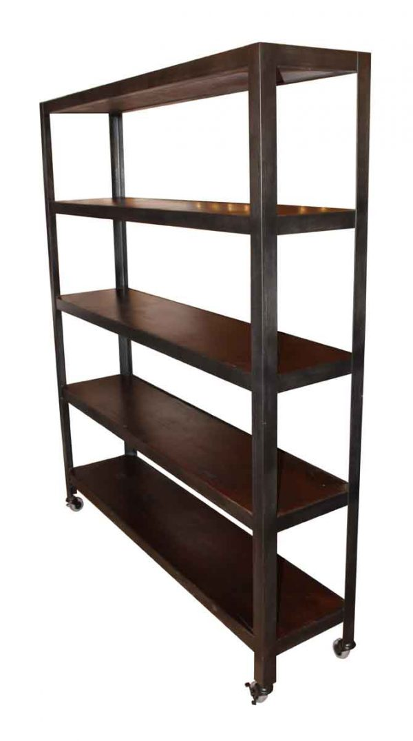Steel & Reclaimed Pine Shelf on Casters