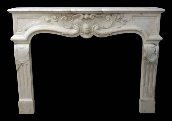 White Italian Carved Marble Mantel