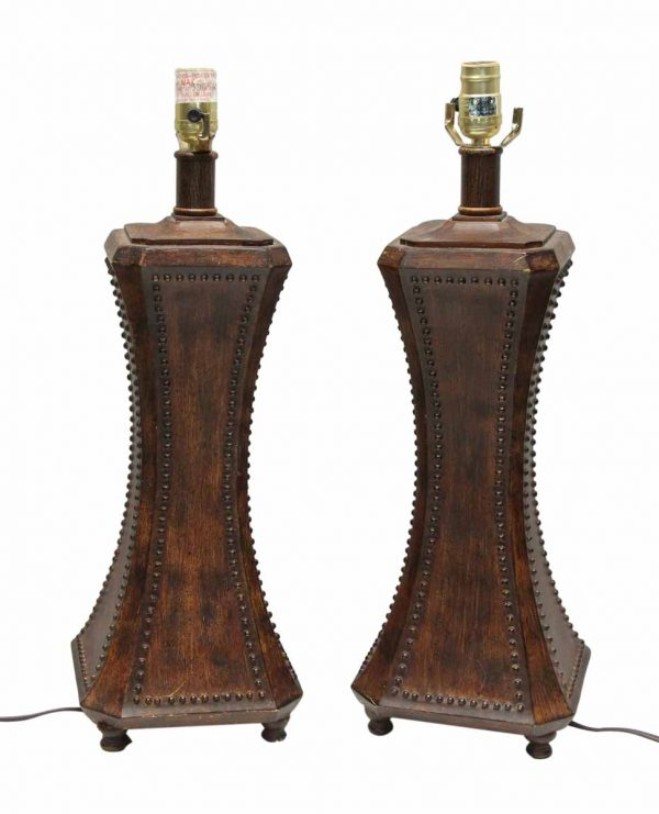 Pair of Wooden Studded Lamps