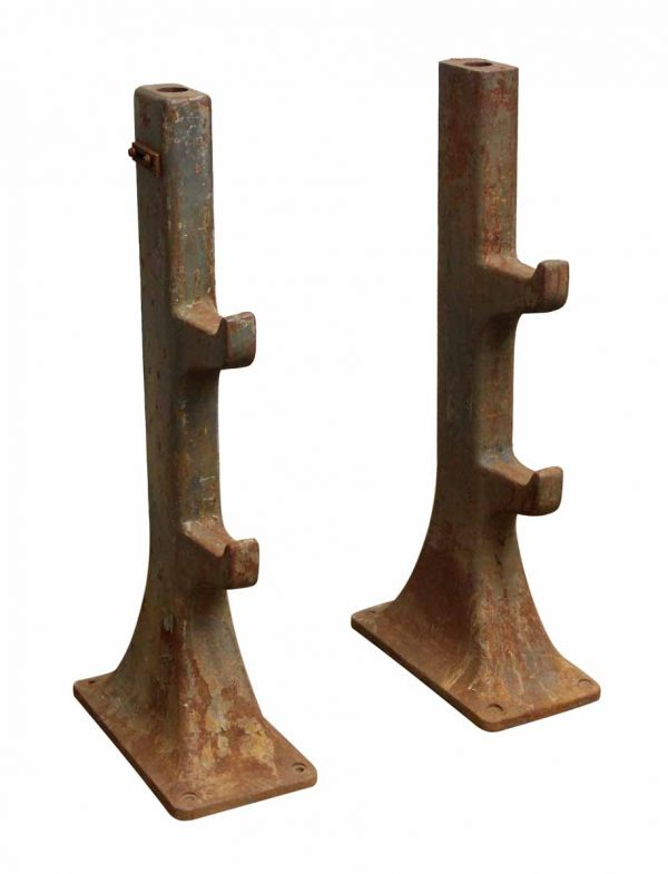 Pair of Large Iron Pipe Holders