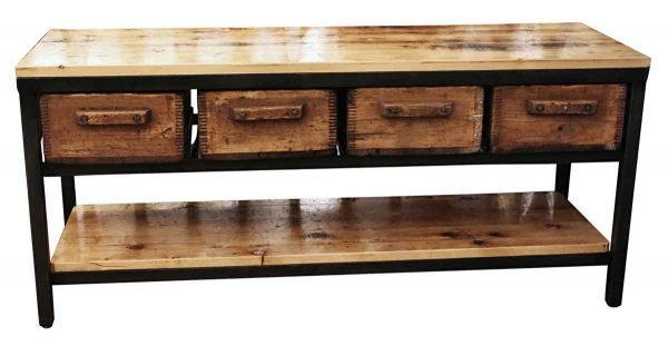 Industrial Four Drawer Console Table