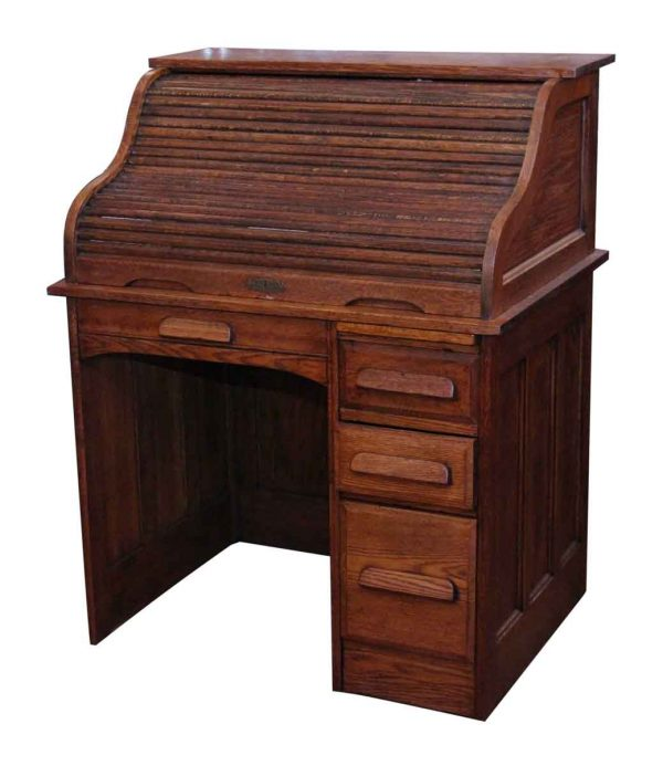 Oak Roll Top Wooden Desk
