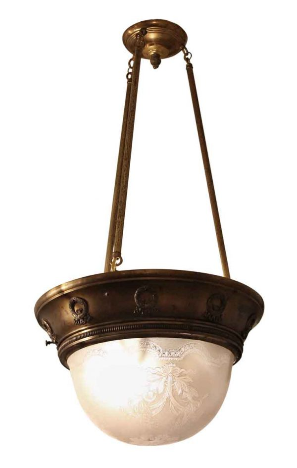 Brass Pendant Light with Etched Glass Bowl
