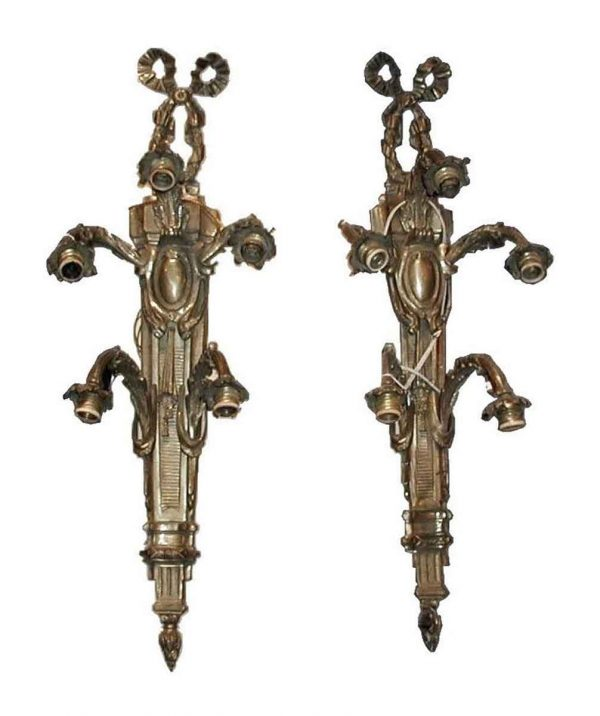 Pair of Bronze Ribbon Wall Sconces - Sconces & Wall Lighting