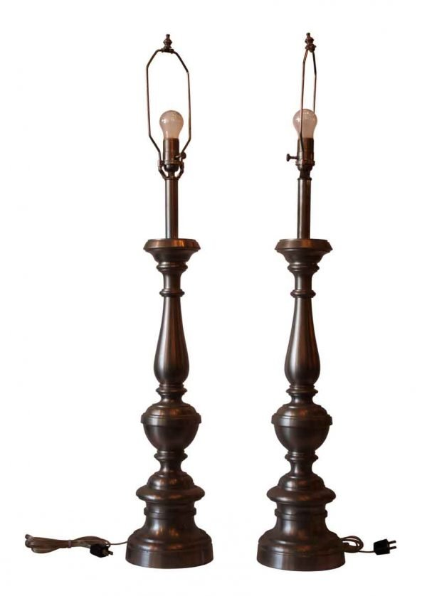 Pair of Satin Nickel Plated Brass Table Lamps