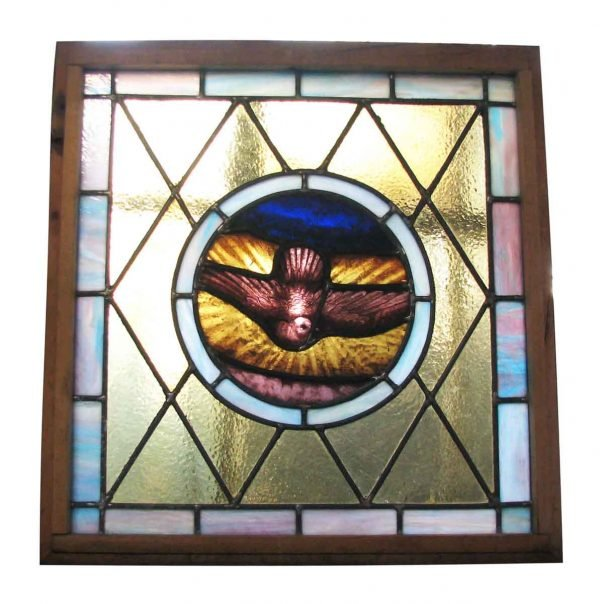 Hand Painted Dove Stained Glass Window