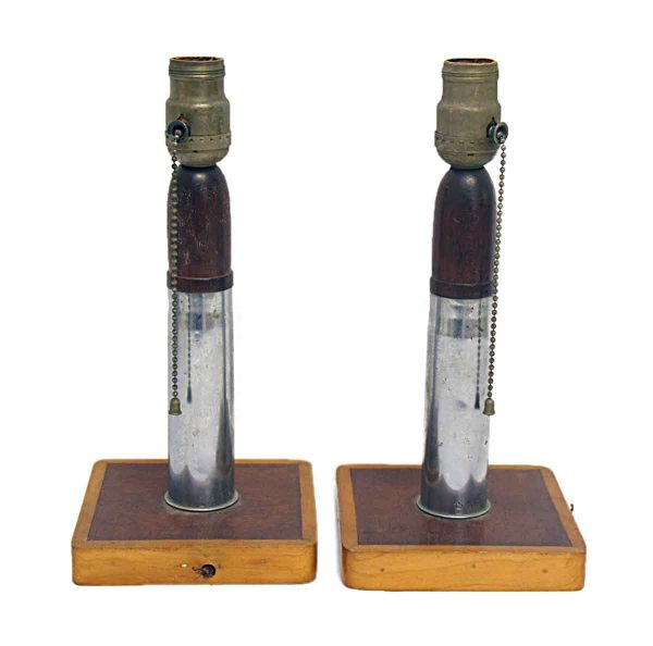 Set of Two Trench Art Lamps