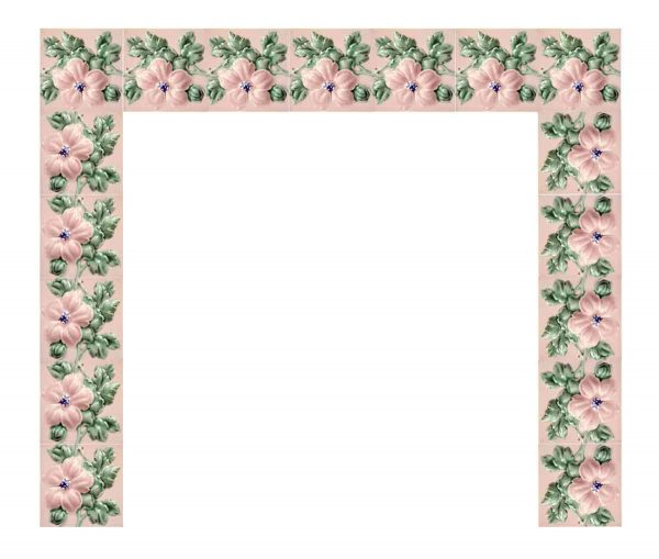 Pink Raised Floral Fireplace Surround - Fireplace Surrounds
