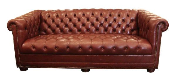 1974 Custom Made Leather Chesterfield Couch - Living Room