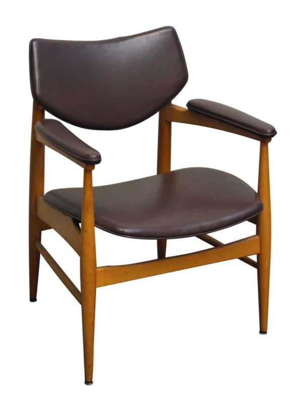 Wooden & Brown Thonet Vinyl Chair