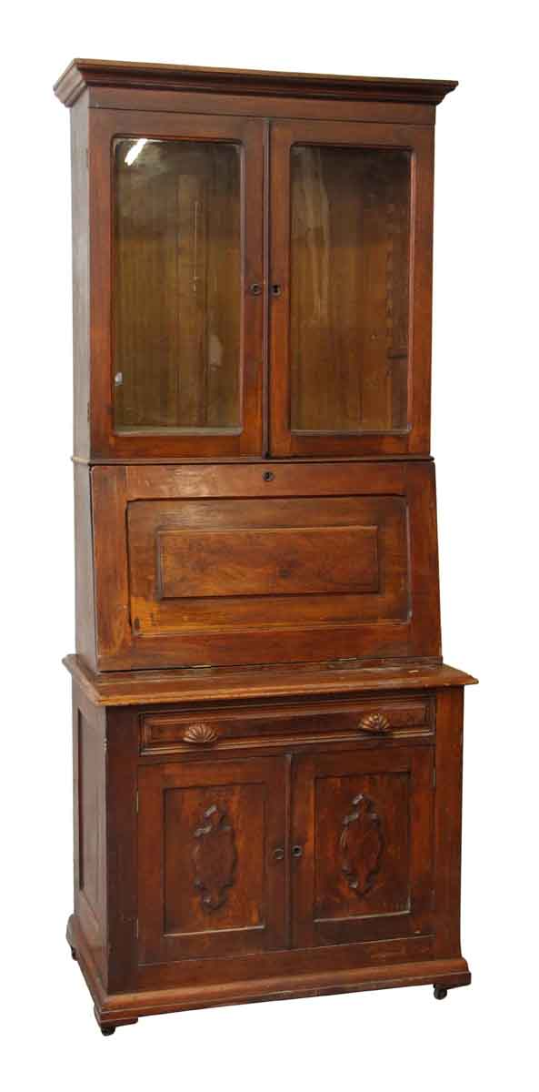 1800s Cherry Secretary with Wavy Glass - Office Furniture