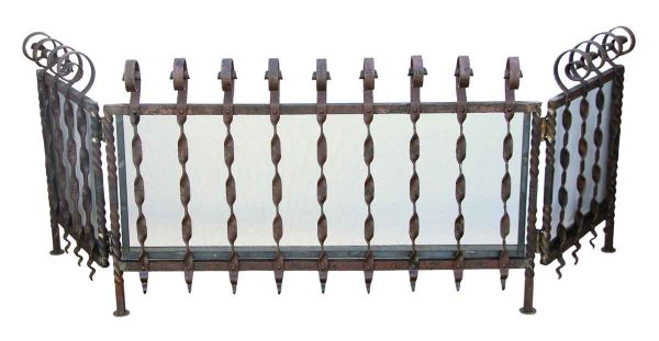 Wrought Iron Fencing Screen With Brass Mesh - Fencing