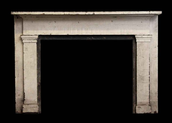 Simple White Painted Wooden Mantel with Side Pilasters - Mantels