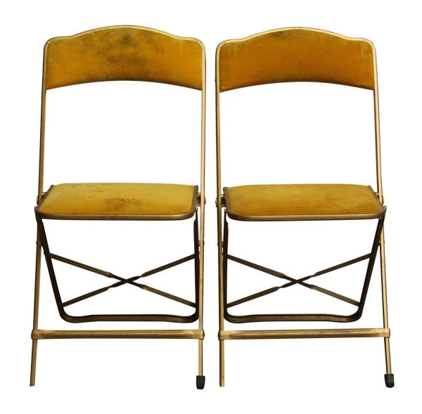 Pair of Yellow Felt Folding Chairs - Seating