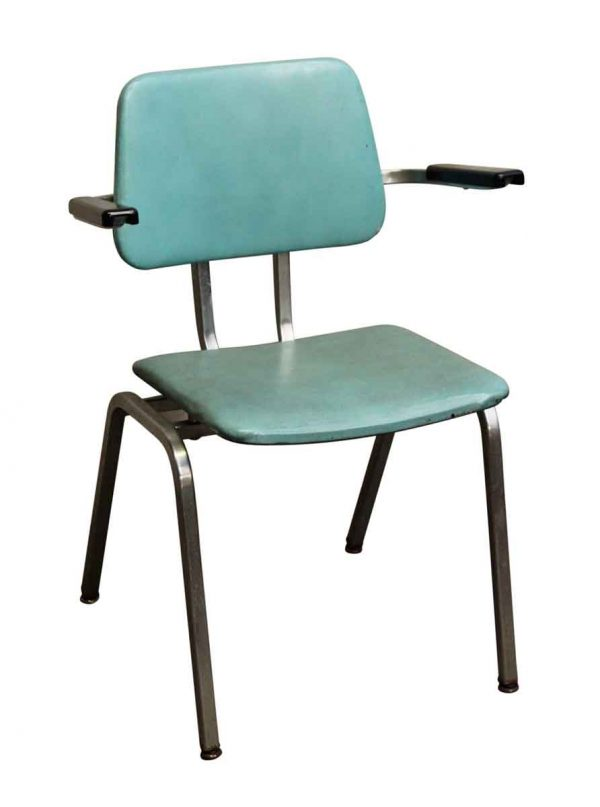 Blue Vinyl Eams Style Arm Chair - Seating